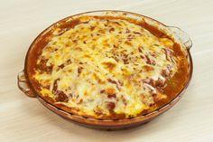 Receita super fácil de fazer e muito saborosa. Polpetone a parmegiana gratinado de travessa e recheado com 3 queijos: Cheddar, muçarela e requeijão.