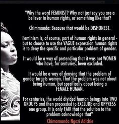 "Amazing explanation of why we say ""feminism"" and not ""humanism"" from  Chimamanda Ngozi Adichie"