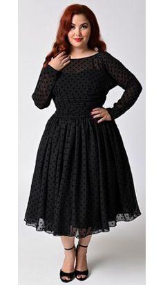 Unique Vintage Plus Size Black Dotted Long Sleeved Dita Swing Dress