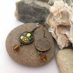 Autumn fall mosaic earrings, Dichroic copper dangly earrings with millefiori Dangly Earrings, Etsy Earrings, Autumn Fall, Mustard Yellow, Handcrafted Jewelry, Mosaic, My Etsy Shop, Christmas Gifts, How To Make
