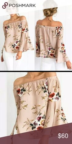 a054d331041 🔥Just In🔥Beige Floral Boho off the shoulder top Just In 🎆 Beige Floral