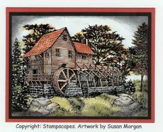 Dry Mill by susan morgan - Cards and Paper Crafts at Splitcoaststampers Card Patterns, Masculine Cards, Cool Cards, Faeries, Bridges, Handmade Cards, Fathers Day, Gift Tags, Cardmaking