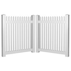 Hartford 8 ft. W x 4 ft. H White Vinyl Picket Fence Double Gate