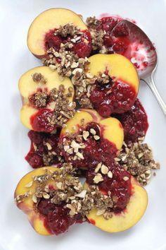 Peach and Raspberry Crumble  #glutenfree #grainfree #paleo