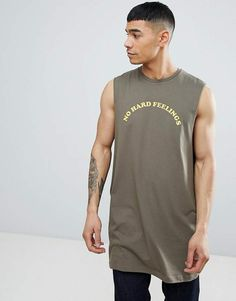 9e1f25ac Asos DESIGN oversized tank with dropped armhole with no hard feelings print  T Shirt Vest,