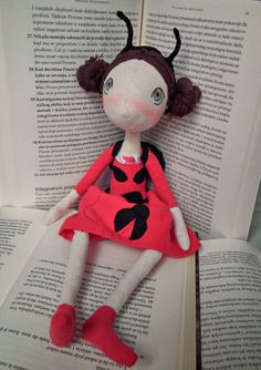 Rag doll  Handmade rag doll  Rag ladybug girl  by FelThink on Etsy