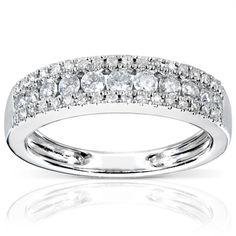 Annello 14k White Gold 1/2ctTDW Diamond Anniversary Band (H-I, I1-I2) | Overstock.com Shopping - Top Rated Annello Diamond