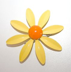 Mod Vintage Yellow & Orange Enamel Daisy by LoriLakeTreasures, $12.00