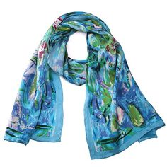 Claude Monet's Water Lilies in Luxurious 100% Charmeuse Silk Long Scarf Hand Rolled Edge...