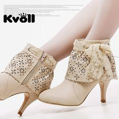 Cute Shoes: Kvoll Beige Eyelet Lace Boots | Blog | GirlyBubble #shoes