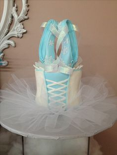 Sculpted cake covered with snowflake embossed fondant. Handmade fondant pointe shoes covered in edible sugar lace snowflakes. Ballerina Cakes, Ballerina Party, Pointe Shoes, Ballet Shoes, Dance Shoes, Sugar Lace, Sculpted Cakes, Cake Cover, Custom Cakes