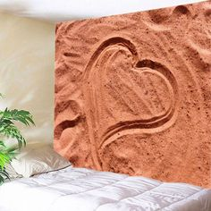 Beach Heart Print Tapestry Wall Hanging Art - BRICK RED W91 INCH * L71 INCH