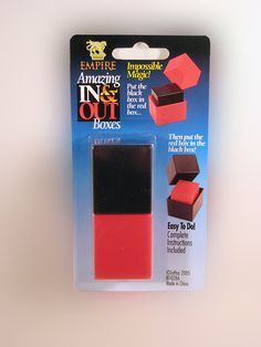 AMAZING IN & OUT BOXES..... The black box fits into the red box than the red box fits into the black box....WHAT? Both the black and red boxes appear to be the exact same size. You can't put one into the other. That is the illusion! www.theonestopfunshop.com