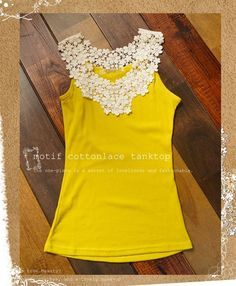 Add lace to tank top. - Popular DIY & Crafts Pins on Pinterest  Love this idea for all the great tees I have with the ridiculously low neckline