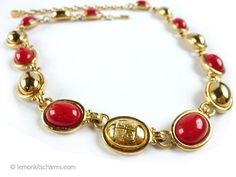 Vintage Liz Claiborne Red Goldtone Necklace Jewelry 1980s
