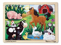 Melissa Doug On the Farm Jigsaw pc) - Ages 3 up. The duck is in the pond and the pig is in the corn in this wooden jigsaw puzzle featuring a happy farm scene. Comes packaged in a sturdy, wooden tray for puzzle building and ea Wooden Jigsaw Puzzles, Melissa & Doug, Puzzles For Kids, Toddler Puzzles, Holiday Gift Guide, Educational Toys, Kids Toys, The Help, Hand Painted