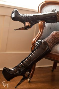 Ladies Steampunk inspired Zeppelin High Heel Boots by Hades. £160.00, via Etsy.