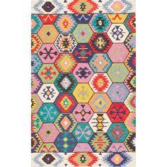 nuLOOM Handmade Southwestern Abstract Honeycomb Multi Rug (7'6 x 9'6)
