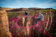 Pentagon Spacenet - world's biggest, highest hammock, a massive, rope-woven living room 150m above the ground at the Fruitbowls near Moab, Utah