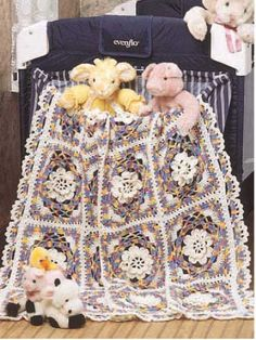 """Star Bright Petals Throw Keep this handy, adorable throw in your baby bag. Size: 41"""" x 50"""". Skill level: Average"""