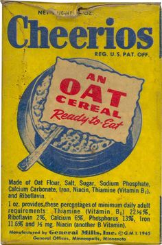 General Mills Chocolate Cheerios | Cheerios: 1940 Cheerios Box - Front