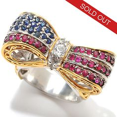 132-982 - Gems en Vogue 2.40ctw Ruby, Sapphire & White Topaz Bow Ring
