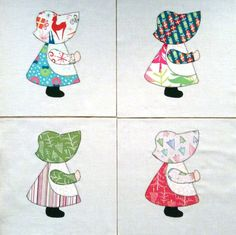 Quilt Blocks Appliqued Christmas Sunbonnet Sue by zizzybob on Etsy