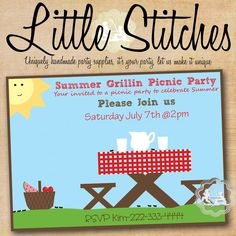 Bbq Or Picnic Birthday Invitation  Future GiftsParty Ideas
