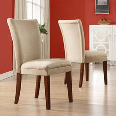 @Overstock - These sophisticated side chairs add the perfect touch to any room. They're a great gift at a price that can't be missed.http://www.overstock.com/Home-Garden/Parson-Classic-Peat-Microfiber-Side-Chairs-Set-of-2/2216230/product.html?CID=214117 $130.49