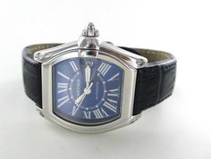 CARTIER ROADSTER 2510 ELECTRIC BLUE DIAL LEATHER BAND DATE ROMAN NUMBERS WATCH