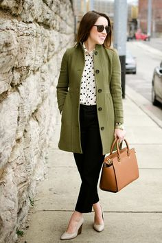 For a bold look this fall, opt for a coat in a fall hue, like this gorgeous olive green.