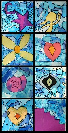 Chagall lesson: Artistry in glass  Stained glass by Chagall  Using the stained glass work of Marc Chagall as inspiration, students created colorful panels on clear acrylic (plexiglass) using tissue paper collage. We discussed the dreamy-like quality of Chagall's work as well as the symbolism he used. Students chose a theme and created a single shape based on their central idea.