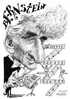 Caricatura de Bernstein por Pablo Morales de los Rios Pop Art, Famous Faces, Classical Music, Satire, Orchestra, Famous People, Instruments, Portraits, Cartoon