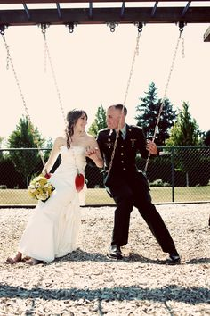 playful bride and groom shot.