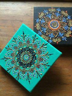 Puff paint mendala on canvas