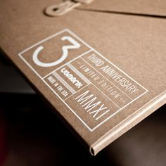 white print label on kraft paper.
