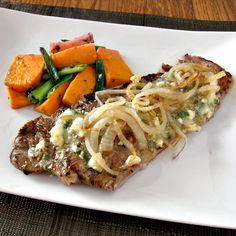 Strip Steaks with Feta Butter and Grilled Sweet Potatoes