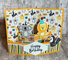 The Stampin' Bunny: Fold Flat Quarter Sheet POP out Card Birthday Bonanza and Under My Umbrella Fun Fold Cards, Pop Up Cards, Folded Cards, Birthday Cards For Boys, Card Birthday, Boy Birthday, Handmade Greetings, Greeting Cards Handmade, Paper Pop