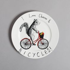 'Cheese & Bicycles' side plate