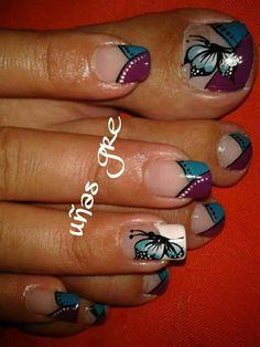 Punta colores Pedicure Nail Art, Toe Nail Art, Easy Nail Art, Toe Nails, Toe Nail Designs, Nail Polish Designs, Pedicure Designs, Fancy Nails, Pretty Nails