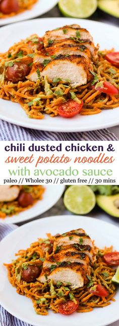 Chili Dusted Chicken & Sweet Potato Noodles with Avocado Sauce - Eat the Gains