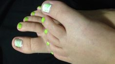 Lime green and white basic nail art! For toes!