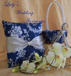 Royal Blue and Silver Silk Brocade Flower Girl ♥ by All4Brides