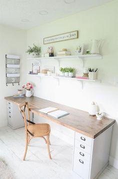 58 Trendy Diy Room Desk Decor Home Office Home Desk, Home Office Desks, Office Furniture, Ikea Office, Office Workspace, Home Office Table, Furniture Design, Interior Office, Pipe Furniture