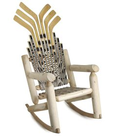 (Hockey-stick Rocker) If only I had saved all my sons Sticks over the yrs. All the memories with each hockey stick to remember. What a gift that would of been for him now ~