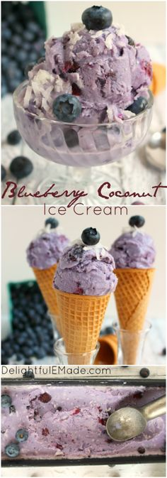 Loaded with fresh blueberries and sweet coconut, this ice cream will knock your socks off!  Made with just a few ingredients, this homemade ice cream is perfect in a cone, a dish and fantastic with cake, too!