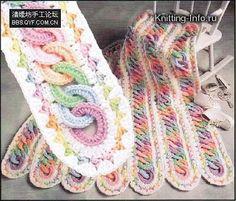 Crochê Tricô - Gráficos: Gráficos/Receitas - Crochê: Manta em Tiras com Argolas