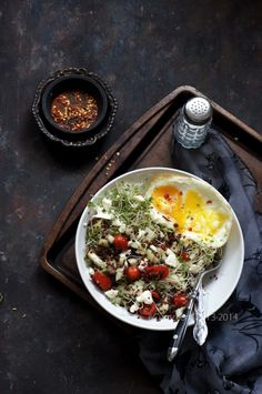 Quinoa Salad with Cucumber, Feta, and Fried Egg