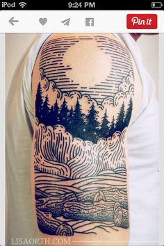 Woodcut drawing style tattoo...really old school art.