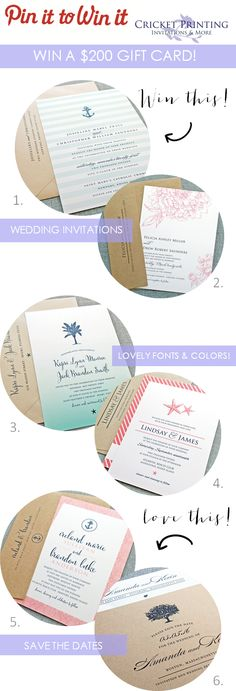 Pin it to Win it Giveaway Starts Now! | Win a $200 GC to Cricket Printing! Wedding invitations, save the dates and more... http://www.theperfectpalette.com/2014/02/sponsored-post-cricket-printing.html